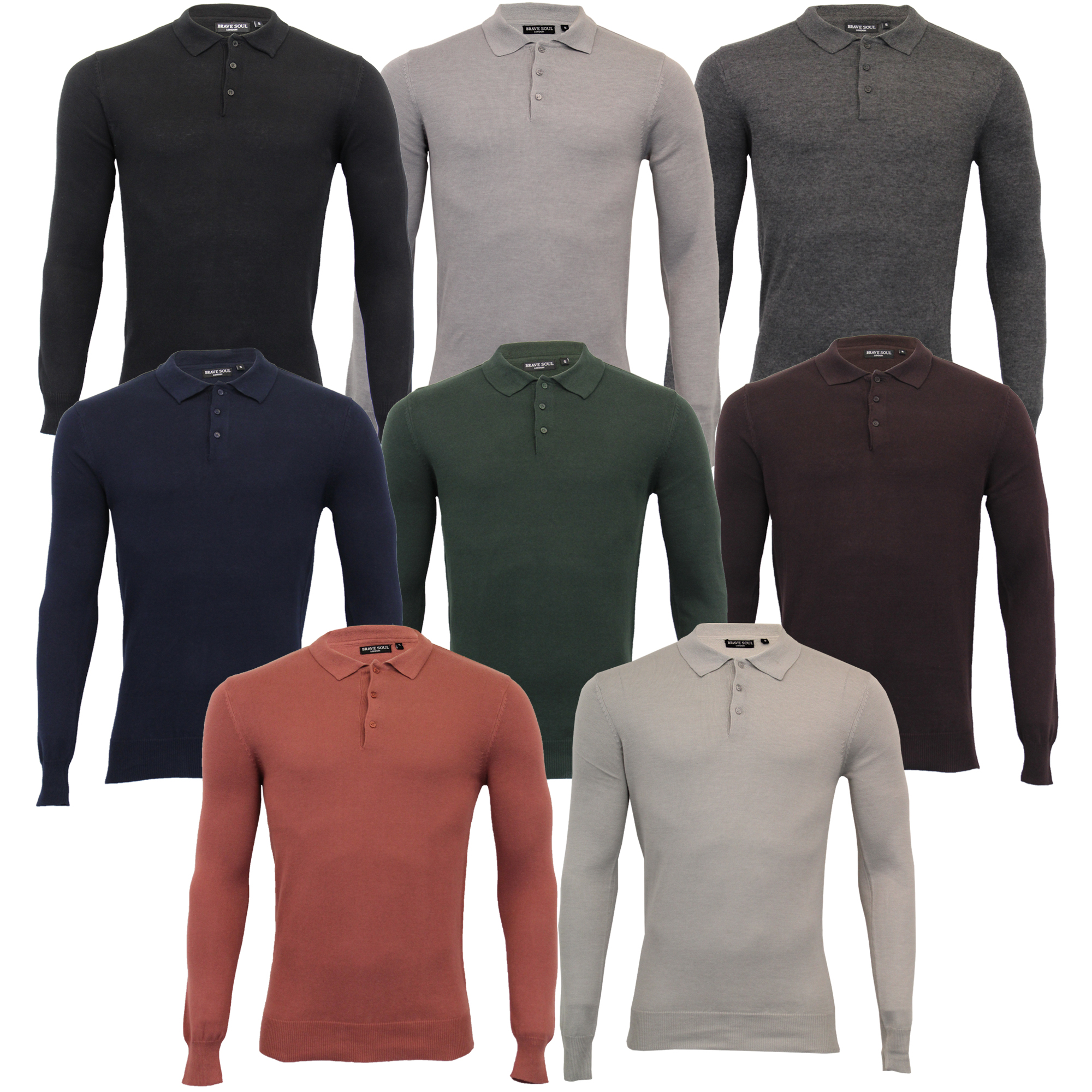 Hommes-Pull-Tricot-Brave-Soul-Polo-Haut-Pull-Patte-Pull-Over-Leger-Neuf