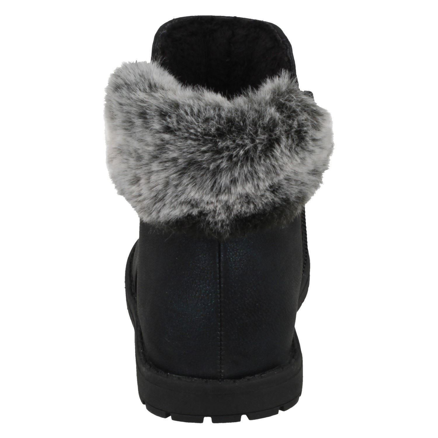 H5R084 SPOT ON GIRLS LOW HEEL CASUAL ANIMAL EARS FAUX FUR WINTER ANKLE BOOTS