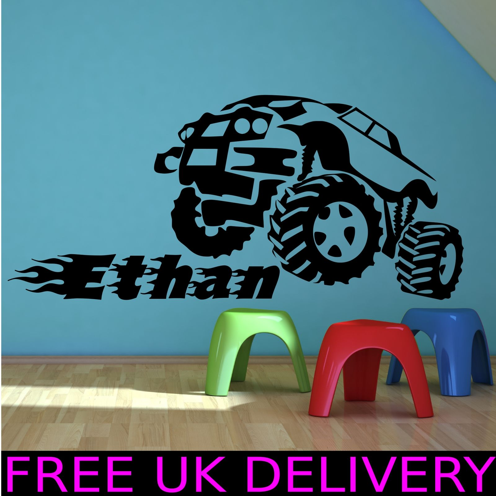personalised monster truck name bedroom wall sticker decal transfer mural wsd722 ebay. Black Bedroom Furniture Sets. Home Design Ideas