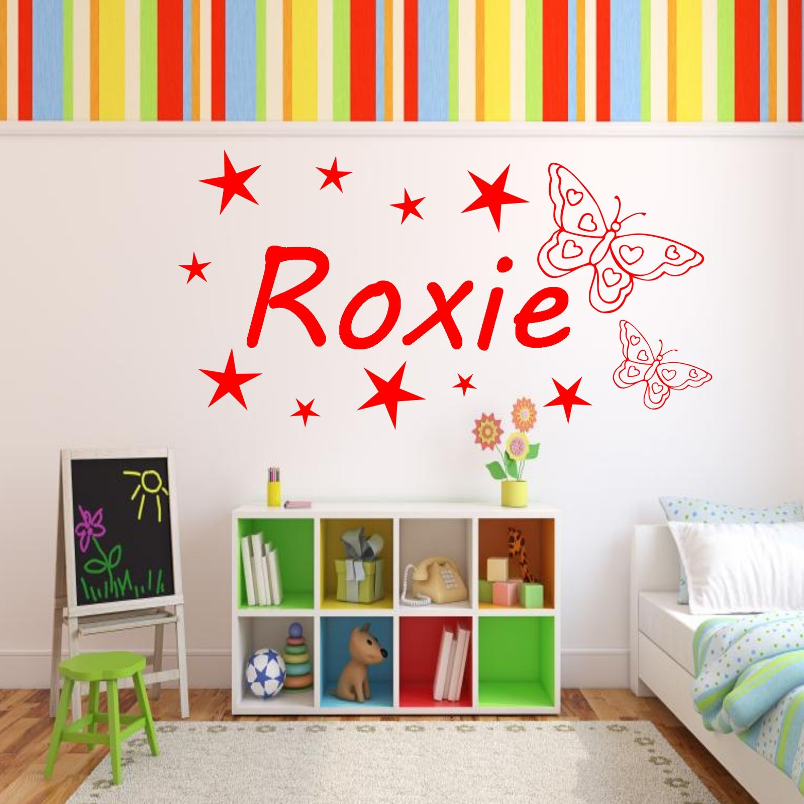 personalised girls name butterfly bedroom wall art
