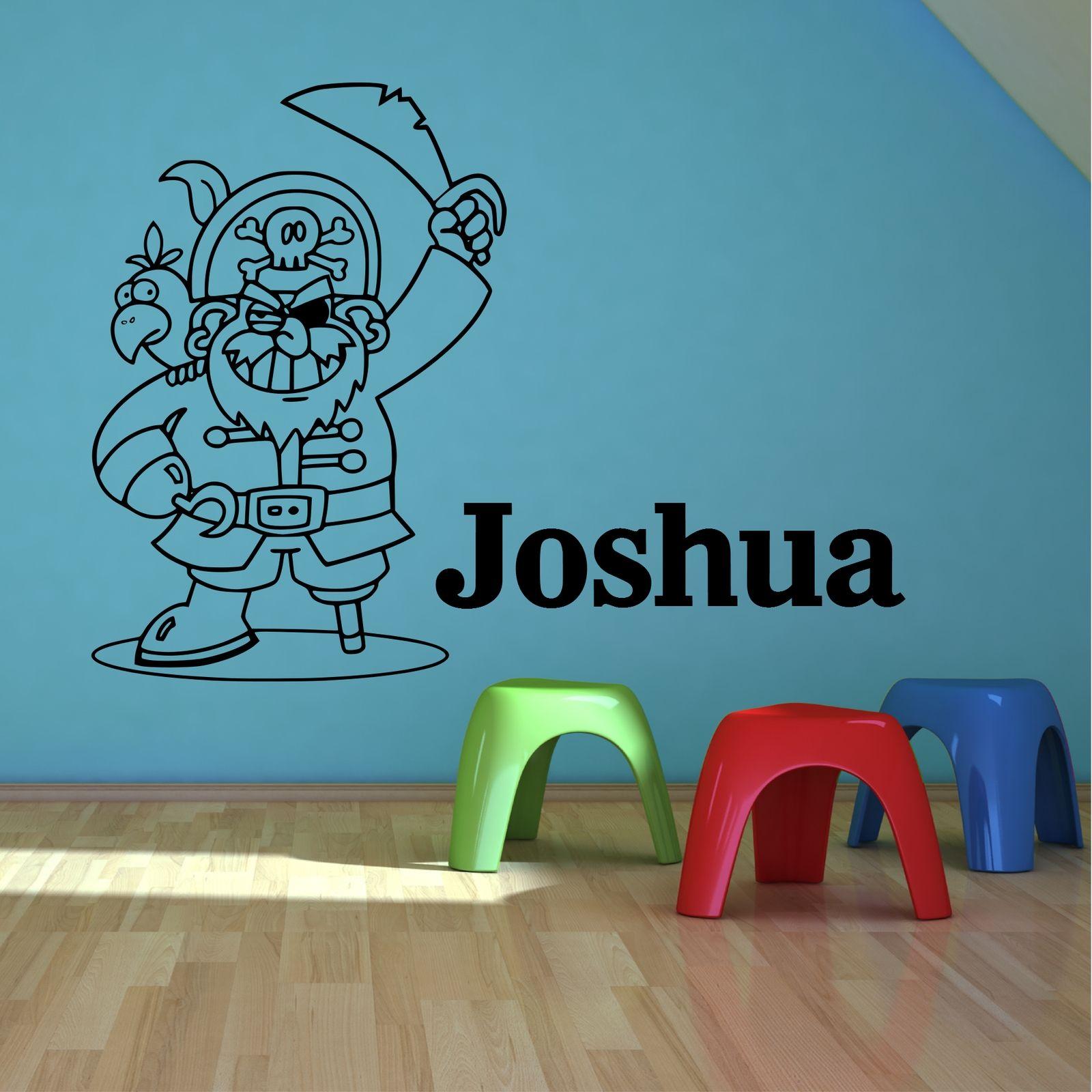 Nombre personalizado pirata chicos dormitorio arte mural for Pegatinas adhesivas pared