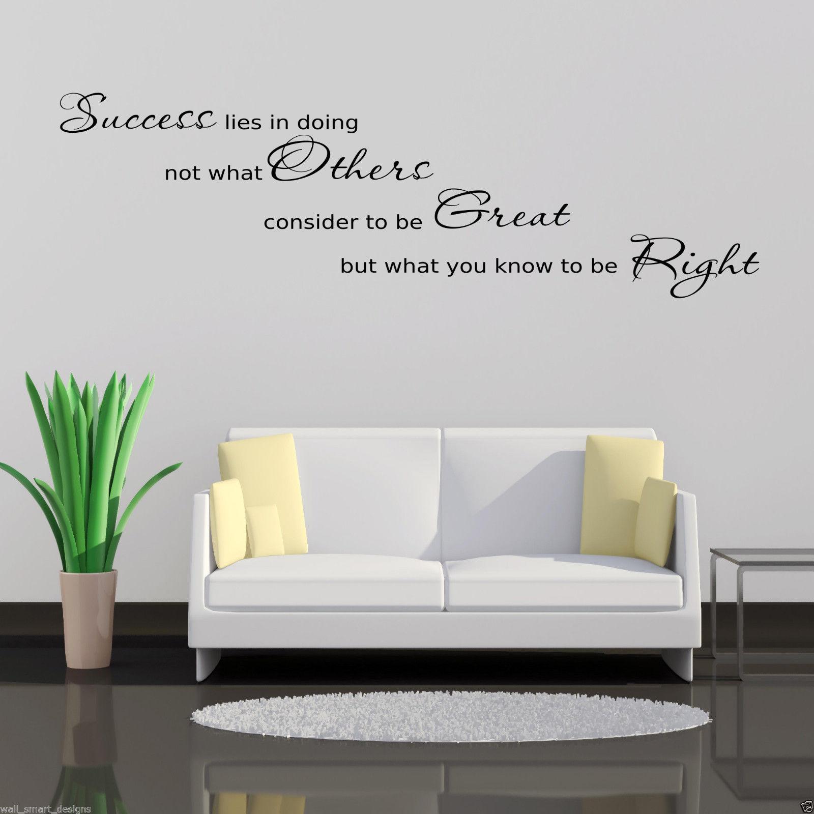 succ s bureau autocollant art mur hall salon citation sticker mural pochoir ebay. Black Bedroom Furniture Sets. Home Design Ideas