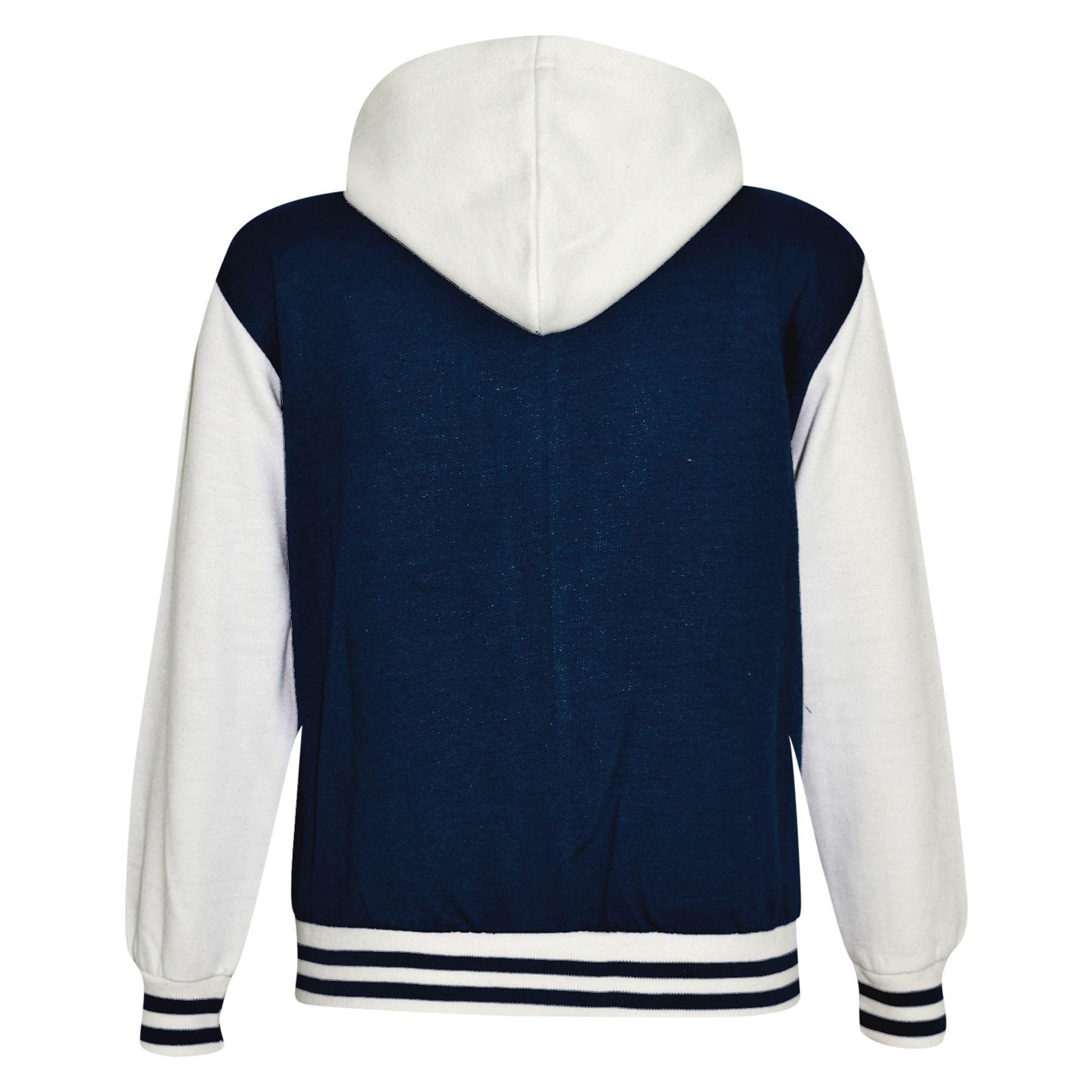 Kids Girls Boys Baseball Plain Hooded Jacket Stylish Varsity Hoodie