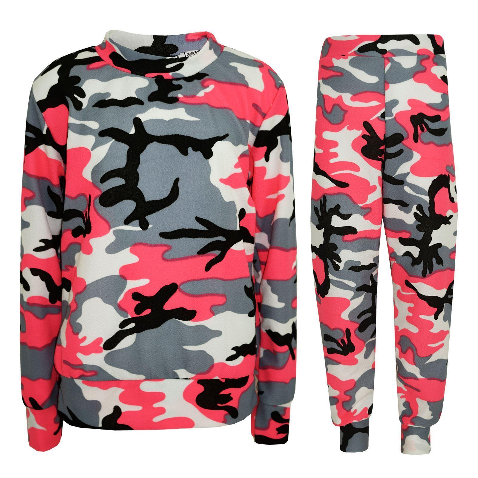Fabuleux enfants filles combinaison pyjama camouflage tenue de course haut  WC73