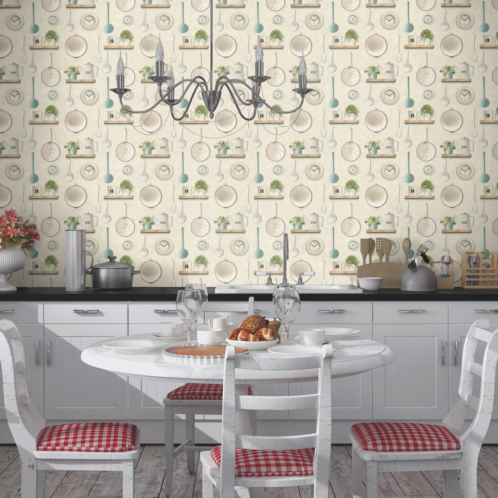 Rasch-Cocina-Inspirado-Papel-pintado-Cafeteria-Utensilios-Hierbas-Especias-NUEVO