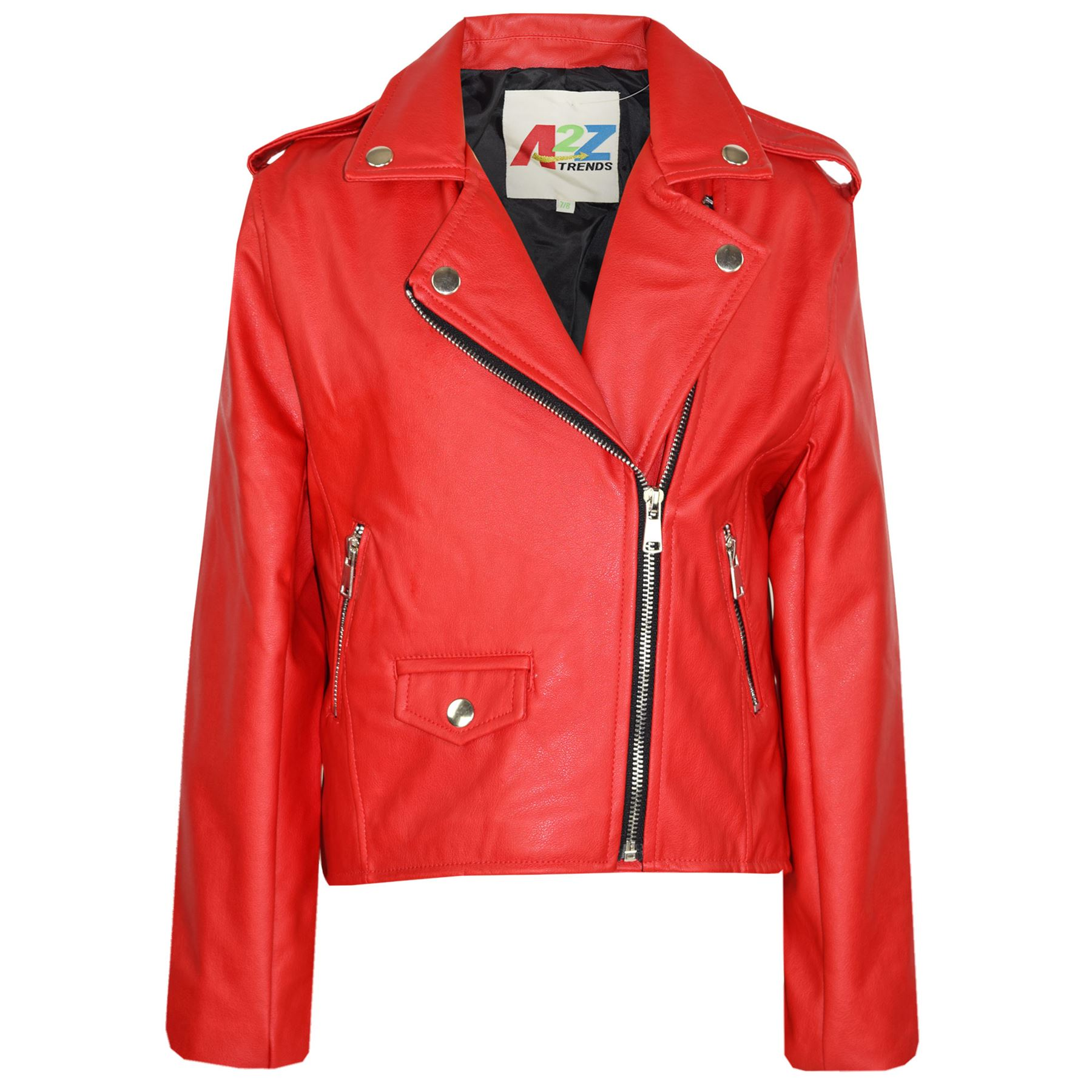 Kids Jackets Girls Designer's PU Leather Jacket Zip Up ...