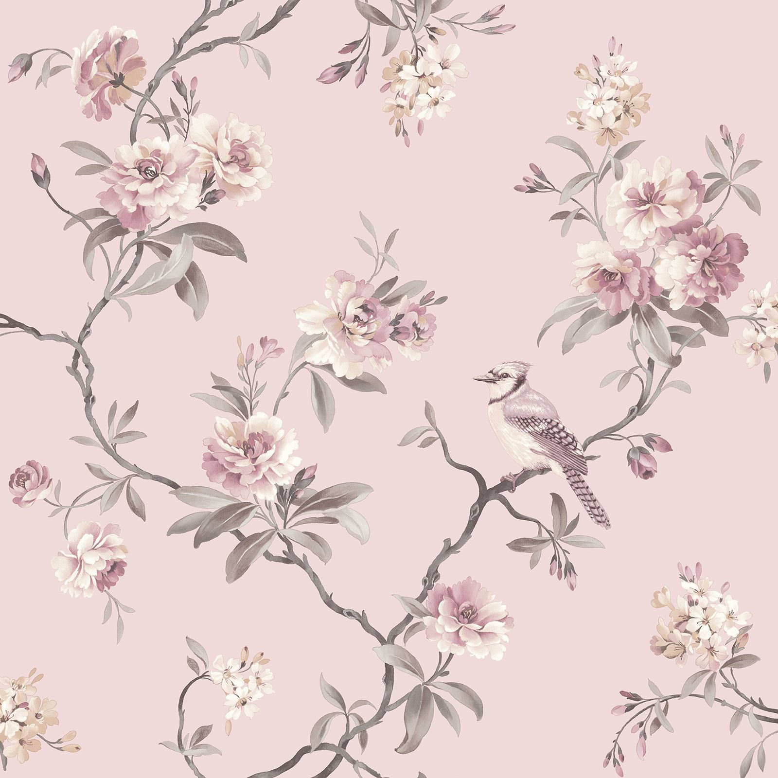 fine decor chic floral chinoiserie bird wallpaper in grey teal pink