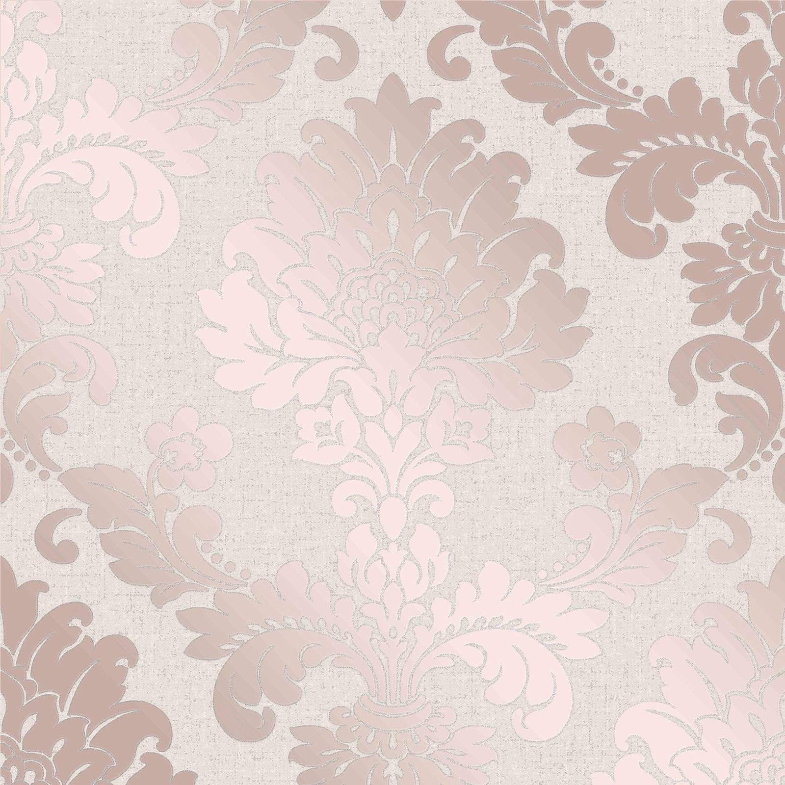 Dore Rose Gris Beige Papier Peint Rayures Geometrique Damas Marbre