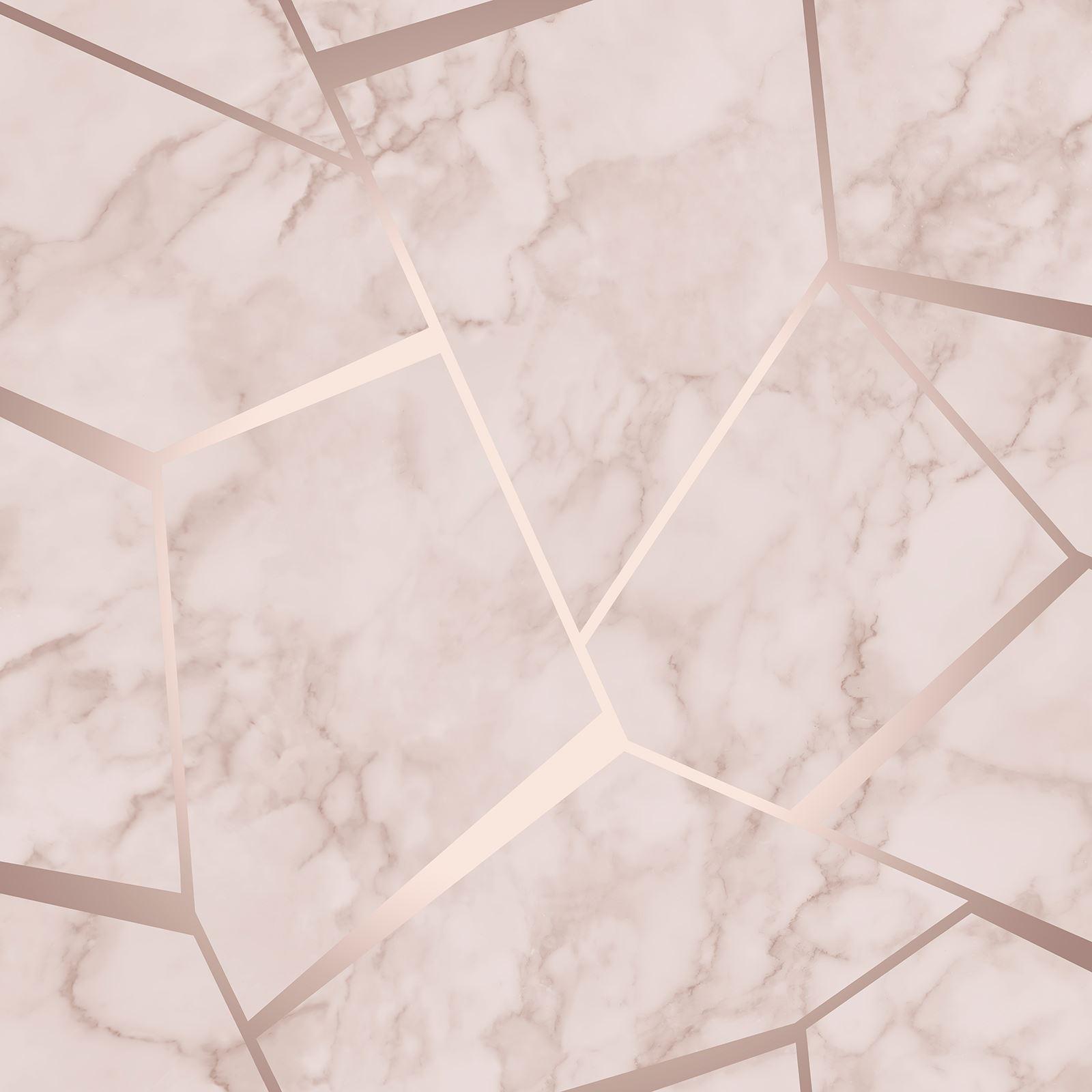 Or Rose Papier Peint À Rayures Géométrique damassée marbre Métallique