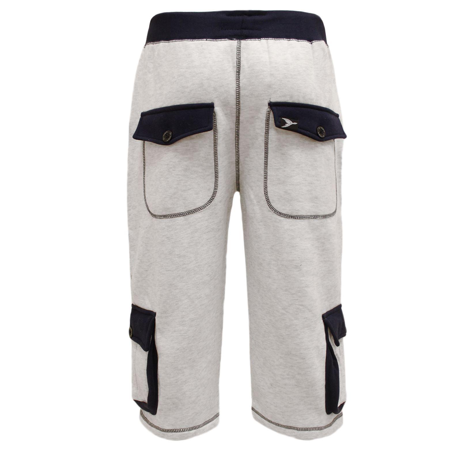 herren baumwollvlies freizeit 3 4 hose beintaschen jogginghose hose shorts ebay. Black Bedroom Furniture Sets. Home Design Ideas