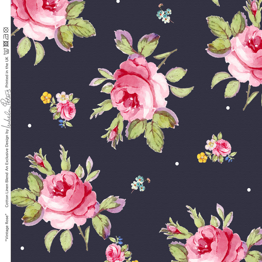 designer n hen polster vorhang vintage rose stoff leinen baumwolle meter ebay. Black Bedroom Furniture Sets. Home Design Ideas