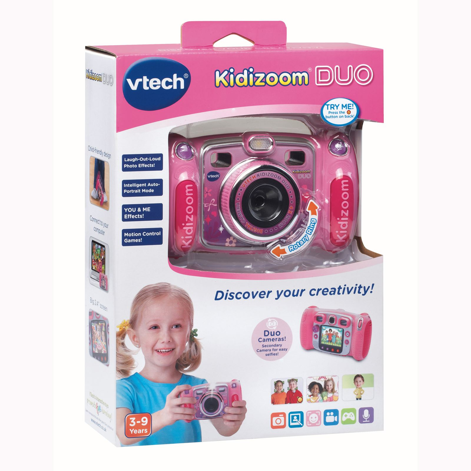 vtech kidizoom duo enfants appareils photo num riques en bleu et rose vtech ebay. Black Bedroom Furniture Sets. Home Design Ideas