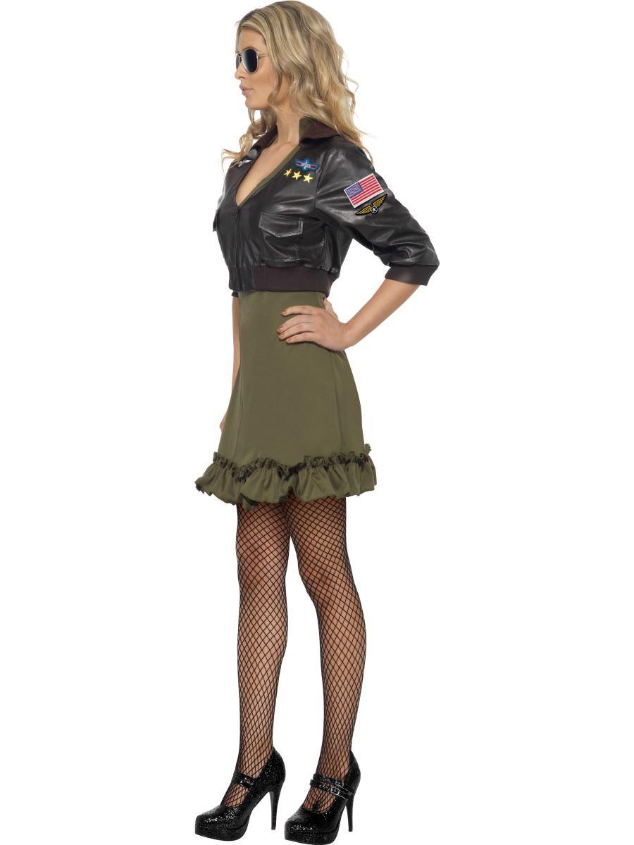 Mujer-Sexy-Top-Gun-Cazadora-de-Aviador-amp-Vestido-anos-80-Militar-Disfraz