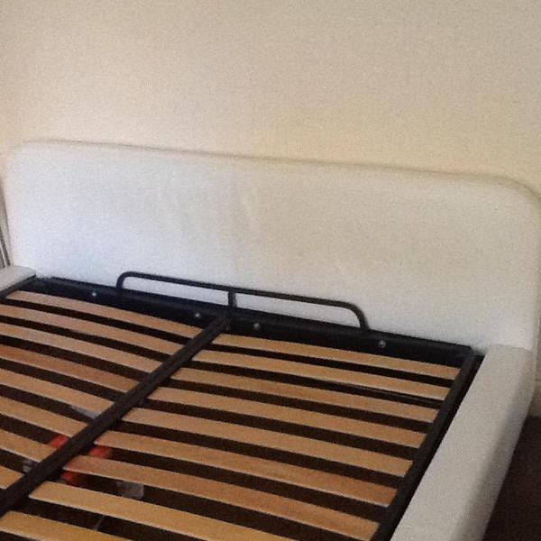 SuperKing White Leather Bed Frame with Sprung Slats. HABITAT Ten Y ...