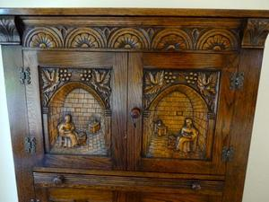 Stunning Carved Oak Drinks Cabinet With Pull Out Glass Shelf. Designed Storage  For Glasses U0026
