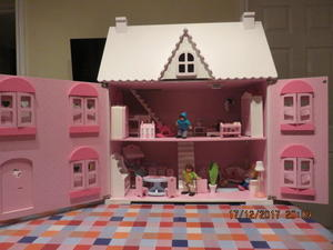 Dolls House Wooden Early Learning Center With Furniture And People For All  3 Storeys General Toys