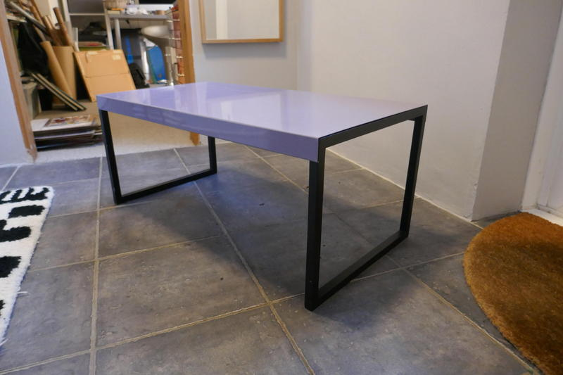 Habitat Kilo Occasional Table Grey Painted Metal Top And Wooden Black Oak  Stained Legs In East