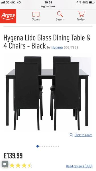 41604a292c2d Hygena lido black glass dinning table and chairs set from argos in Newport  Isle of Wight - Expired