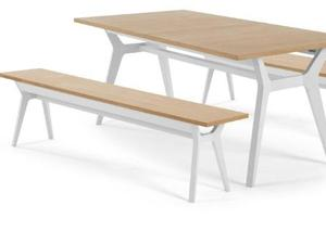 BRAND NEW Oak And White Skandi Contemporary Designer Extending Dining Table Benches
