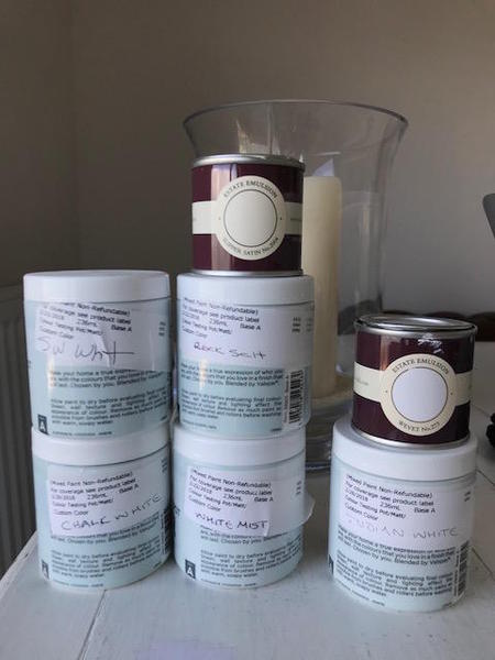 Farrow & Ball and Valspar Paint samples shades of White