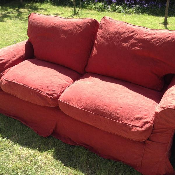 Burgundy/deep Red Sofa, Feather Cushions, Removable Covers In Ventnor    Sold | Wightbay