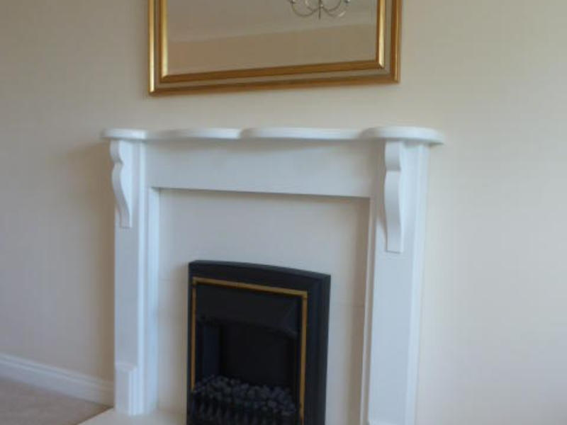 FIRE SURROUND, MARBLE HEARTH & BACK PANEL PLUS ELECTRIC