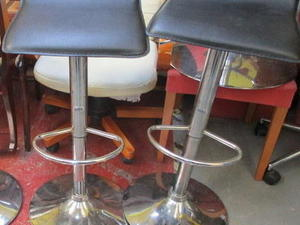 Black Faux Leather Bar Stools £15 each in Cowes