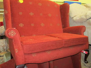 Small Red Sofa & 2 Armchairs £95 in Cowes