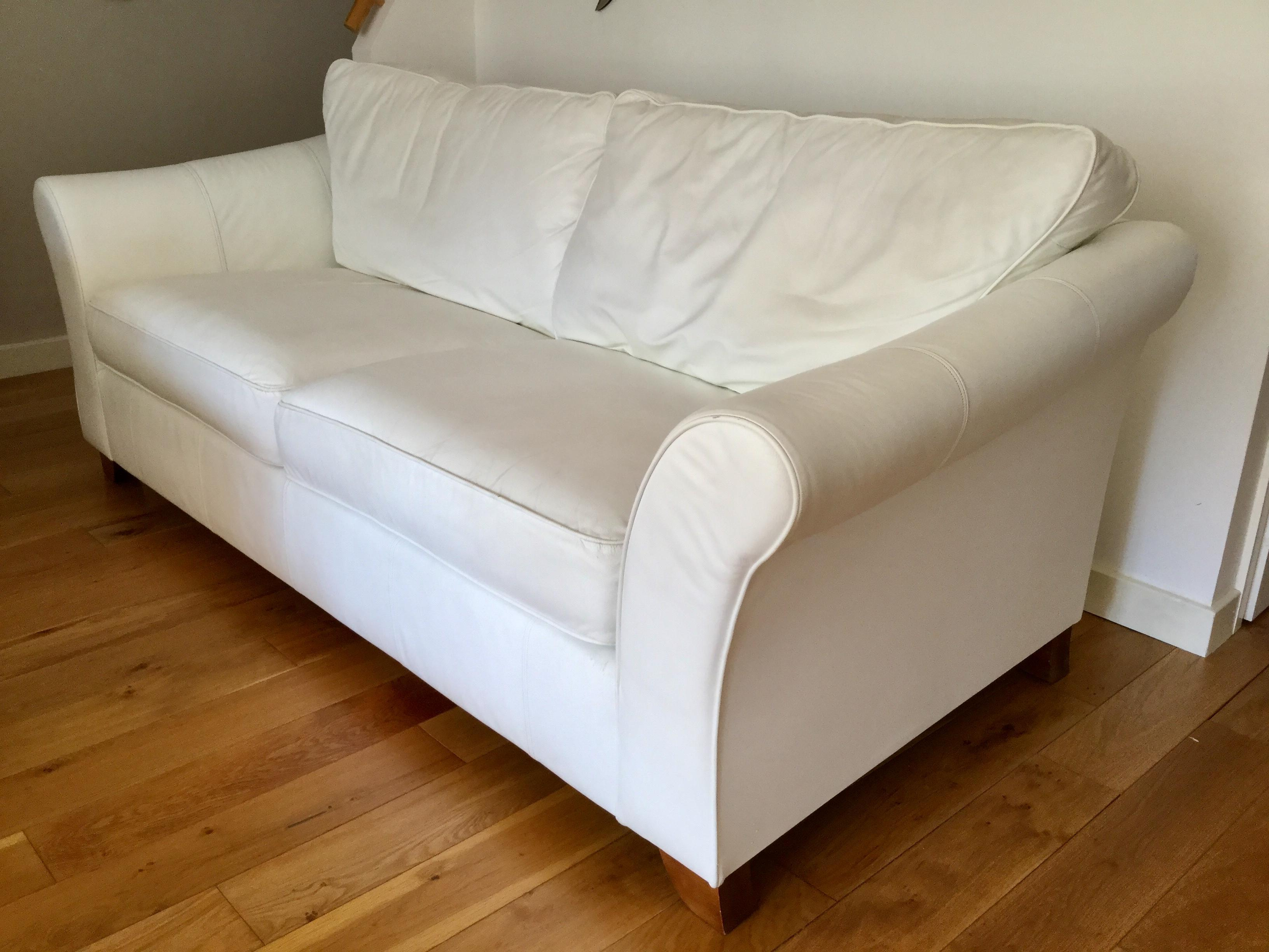 Brilliant Quality Marksspencer Large White Leather Sofa In Seaview Theyellowbook Wood Chair Design Ideas Theyellowbookinfo