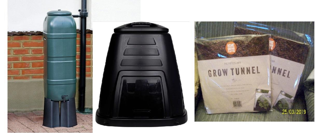 Water Butt + Connection Kit, Tap & Stand, COMPOST BIN, 2 mini