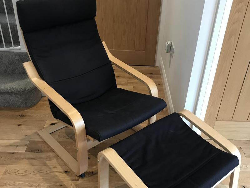 Pleasing Ikea Poang Armchair And Foot Stool In Bembridge Wightbay Ibusinesslaw Wood Chair Design Ideas Ibusinesslaworg