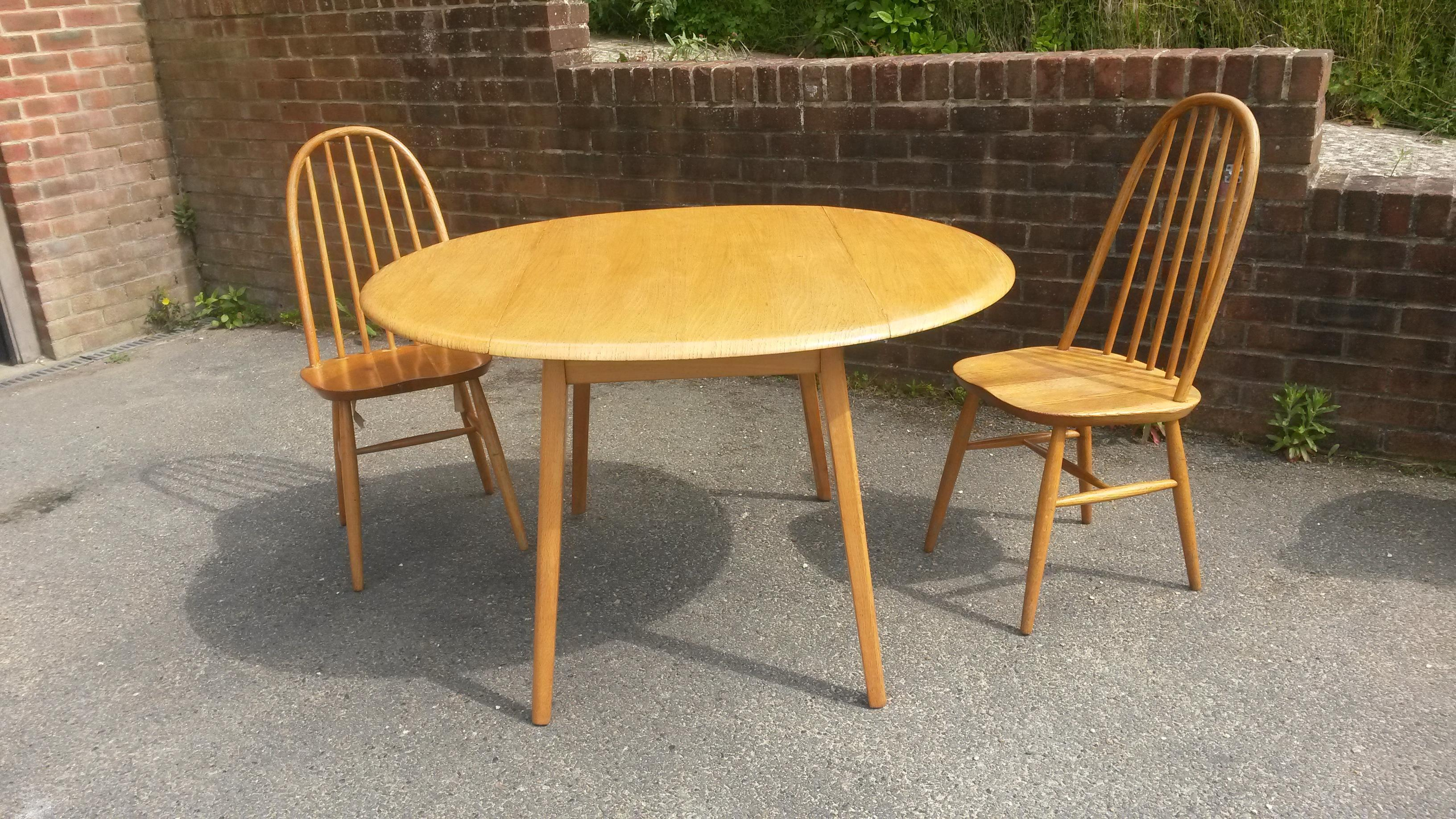 Pleasing Vintage Drop Leaf Dining Table And Chairs Set Retro Ercol Download Free Architecture Designs Licukmadebymaigaardcom