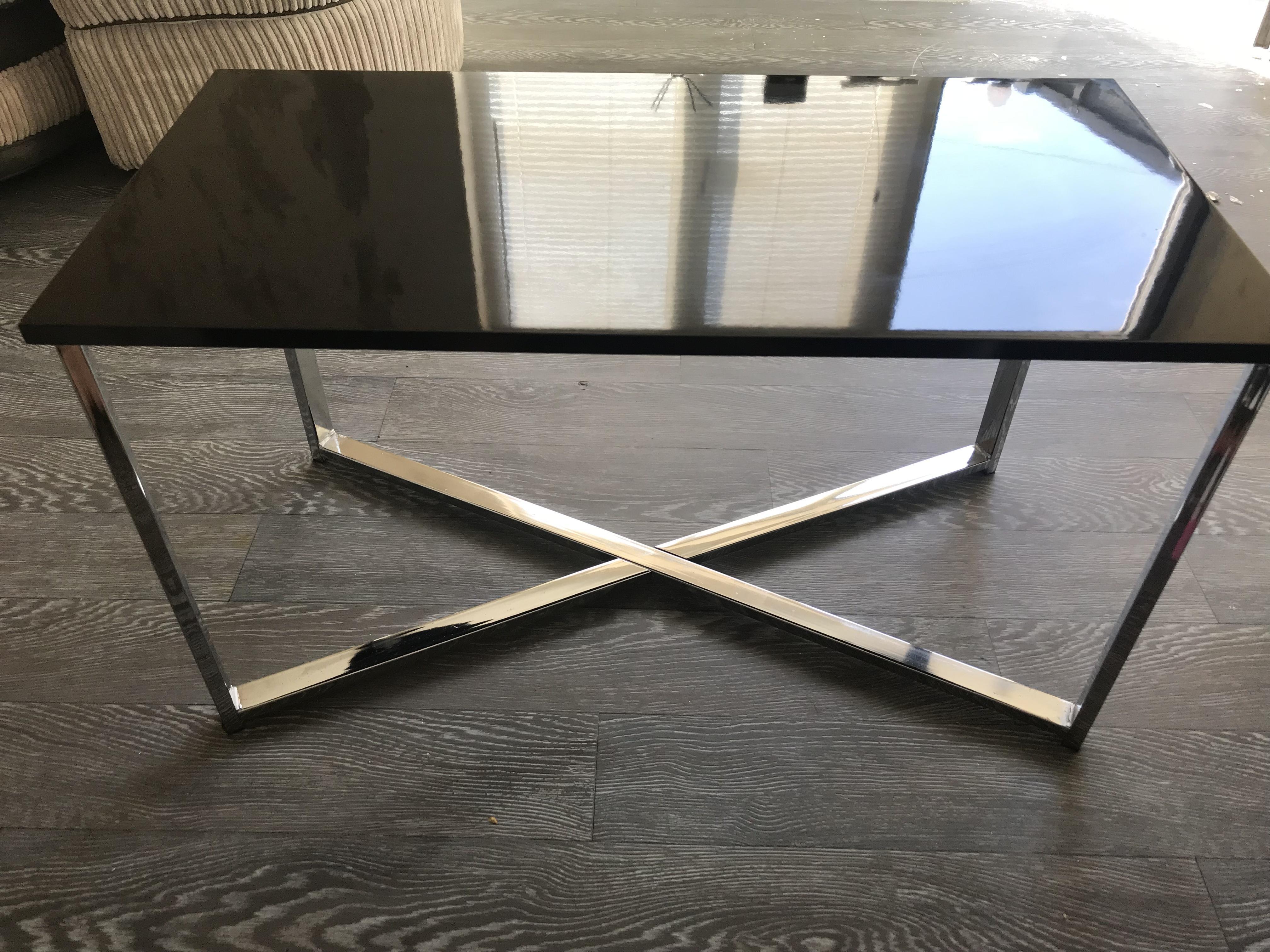 Argos Fitz Black And Chrome Coffee Table In Sandown