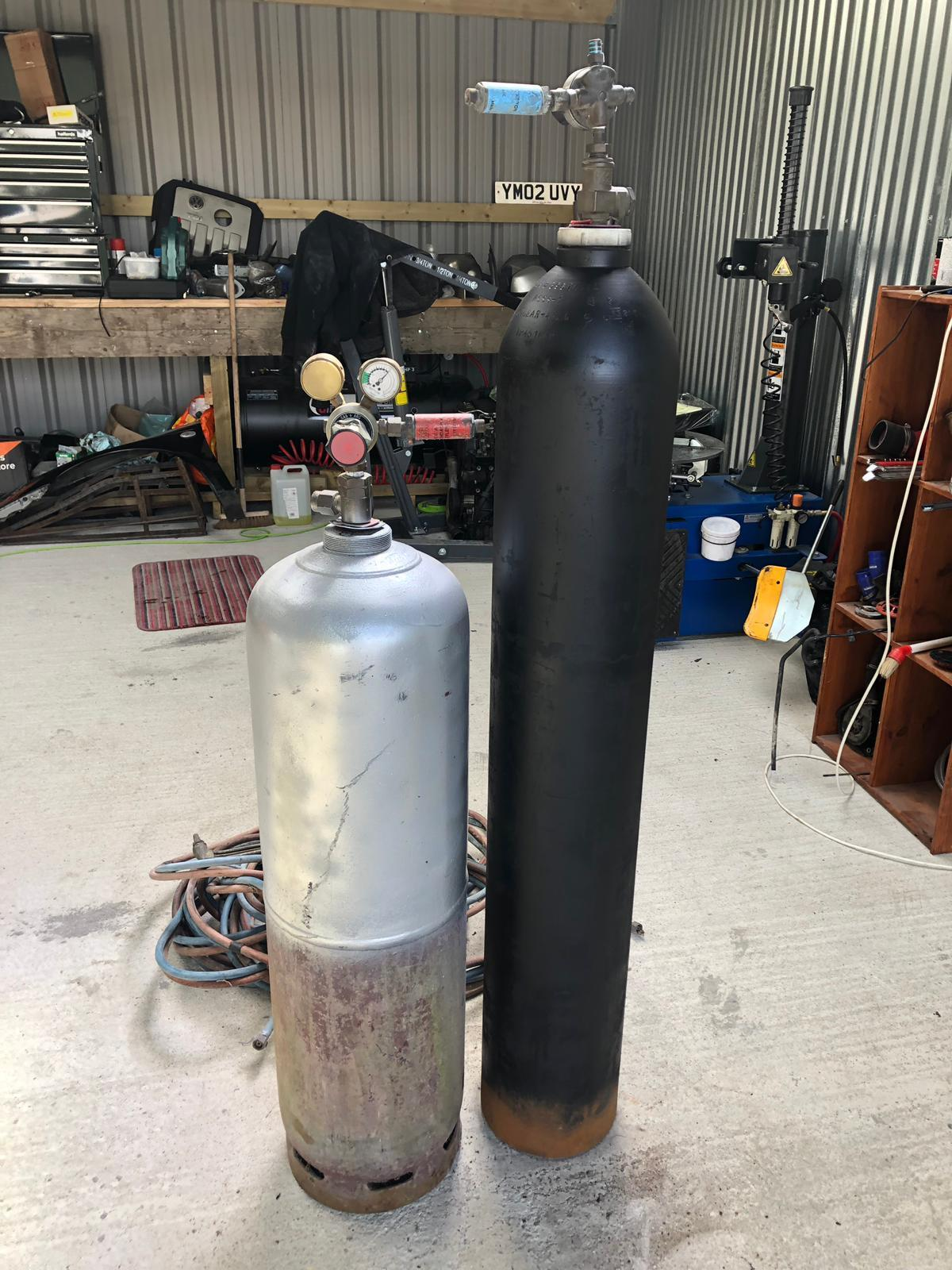 gas axe and oxyacetylene torch and bottles - Newport Isle of