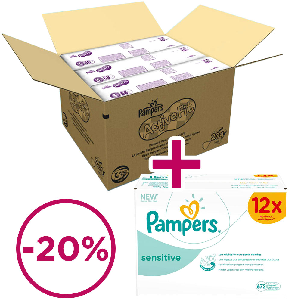 Pampers Active Fit  Aktion: 1 x Midi Monatsbox, Gr. 3 204 Stück + 1 x Pampers Sensitive 12x Vorteilspack 672 Stück