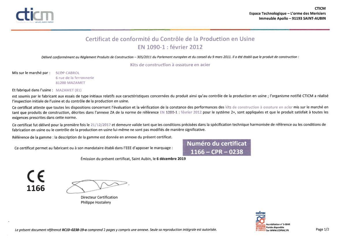 """Renouvellement du Certificat de conformité à la norme Européenne EN 1090 """"Exécution des structures en acier"""""""