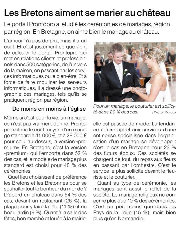 Les Bretons et Bretonnes aiment se marier au château