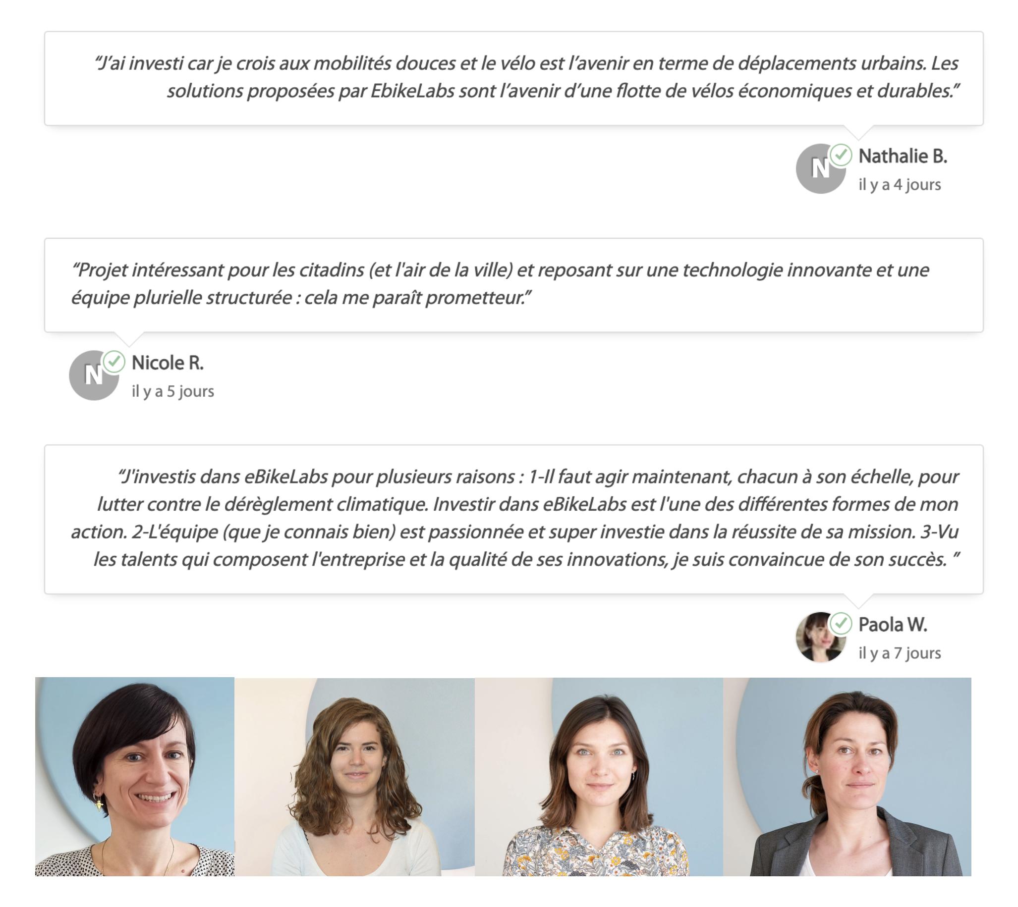L'équipe des collaboratrices et actionnaires eBikeLabs