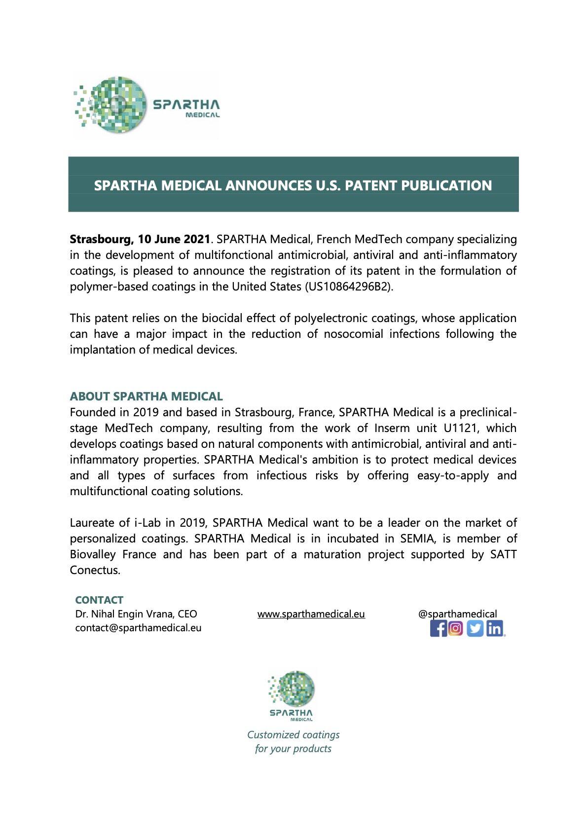 Brevet américain pour Spartha Medical