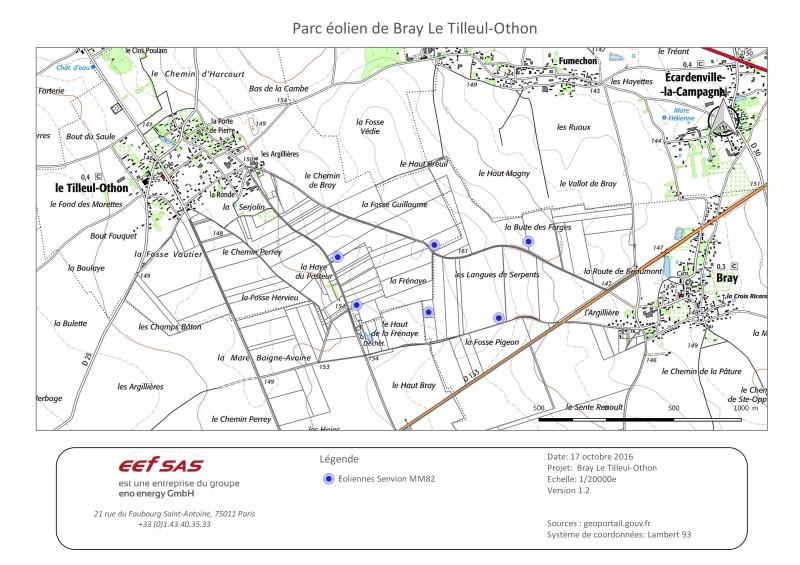 Implantation des éoliennes du projet Bray / Tilleul-Othon