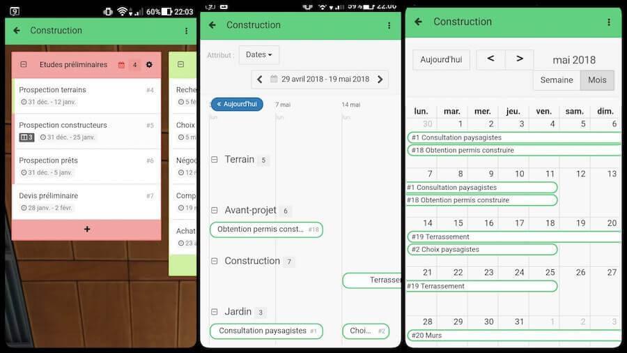 Kantree Android : kanban, timeline et calendrier