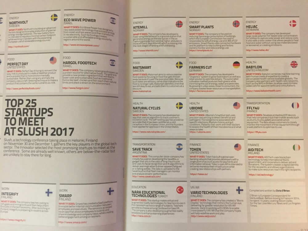 Top 25 des start-up à rencontrer ! Slush 2017