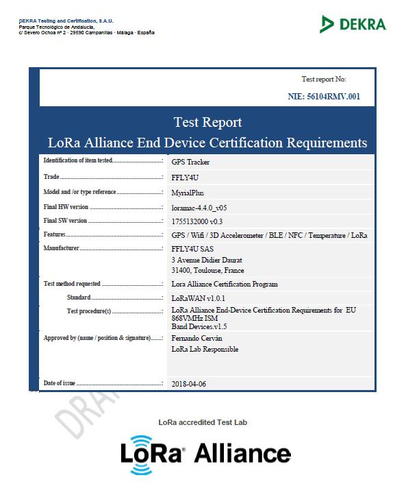 Certification LoRa Alliance !