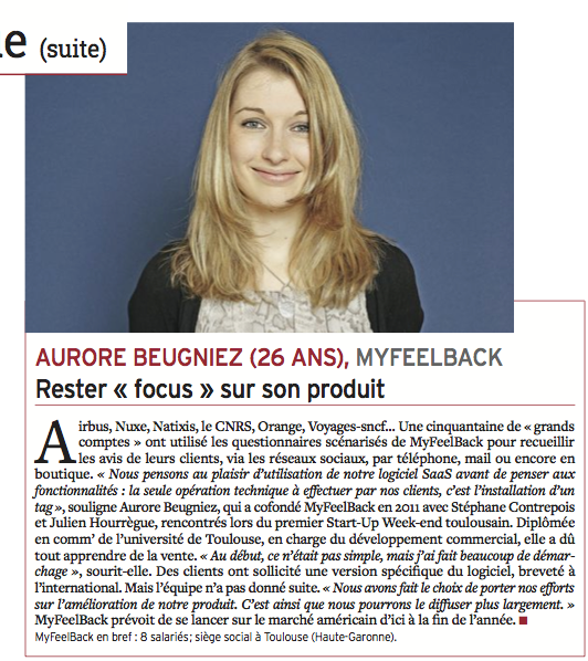 Aurore Beugniez, MyFeelBack dans la Tribune.