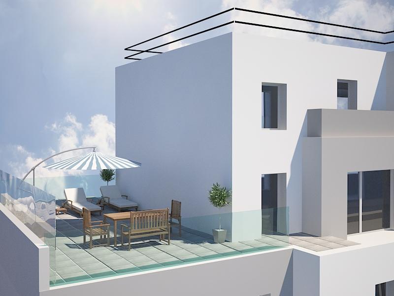Perspective terrasse jardin