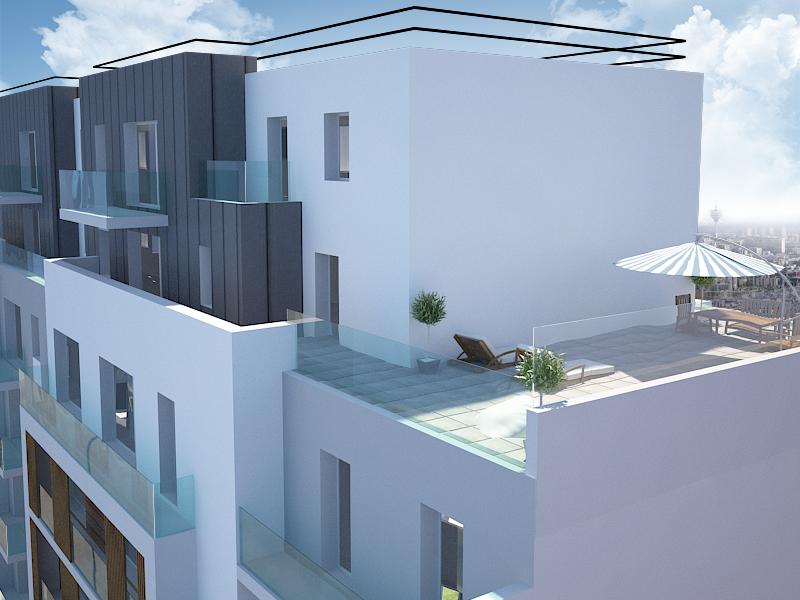 Perspective terrasse rue