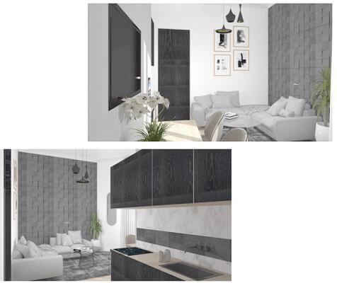 Vue 3D salon + cuisine