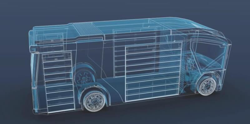 châssis technologiquement révolutionnaire permettant l'abaissement du véhicule complet au niveau de la chaussée