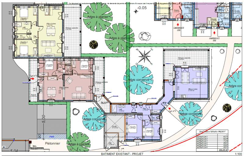 Plan projet d'aménagement bâtiment existant