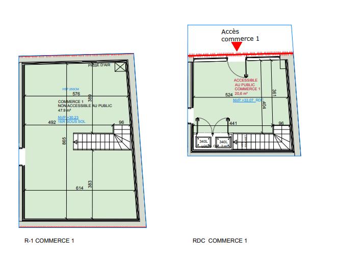 Plan commerce 47m²